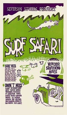 Surf Safari movie poster reproduction. Signed by John Severson