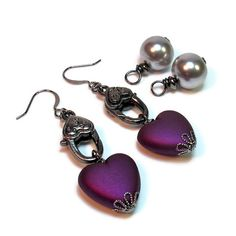 Steampunk Earrings in Gunmetal interchangeable with Hearts and Pearls #handmade