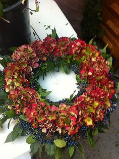 Red Hydrangea and Viburnum Berry Wreath