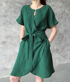 Linen loose kimono wrap summer dress with pockets, emerald green loose washed linen tunic with kimono sleeves and belt, MaTuTu linen Style - My Style - Summer Dress Outfits Summer Swing Dresses, Summer Dress Outfits, Linen Dresses, Cotton Dresses, Linen Tunic, Cotton Linen, Dress With Sneakers, Casual Dresses For Women, Wrap Dress