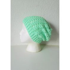 Lacy Mint Green Slouchy Beanie Hat, ready to ship. ($45) ❤ liked on Polyvore featuring accessories, hats, slouch beanie, saggy beanie, beanie hats, slouchy hat and print hats