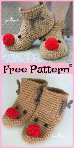 Crochet Socks Free Pattern Tutorials Knitted Slippers 34 Ideas For 2019 Crochet Slipper Pattern, Knitted Slippers, Crochet Slippers, Slipper Socks, Christmas Crochet Patterns, Holiday Crochet, Free Crochet, Crochet Baby, Crochet Gifts