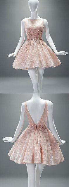 A-line Scoop Short Champagne Backless Lace Homecoming Dress With Applique ✧•*•. ஐ ✦⊱Pinterest @Kawaii Duck ⊰✦ Follow to discover more ஐ✧•*•.