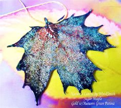 Real Canadian Sugar Maple Leaf, Natures Leaves, NEW Autumn Green Patina. $17.95, via Etsy.