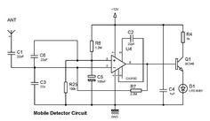 Mobile freq rf detector circuit, blinking led