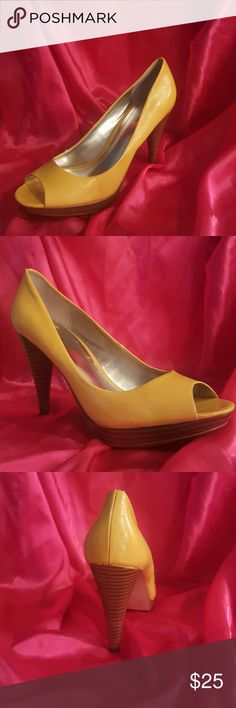 """Styles Co. 💋 Yellow pumps Bright and cheerful vegan leather lemon yellow 3"""" wooden heel, half inch platform and flirty peep toe This spring/summer must have only been worn once and are in excellent condition LIKE NEW?? Style & Co Shoes Heels"""