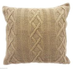 """2X SUPERB LATTE ARAN CABLE KNIT 100% COTTON 22"""" THICK HEAVYWEIGHT CUSHION COVERS"""