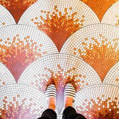 Those are some beautiful mosaic floor tiles! #fishscales #mosaics
