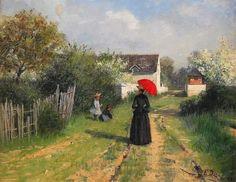 Elin Kleopatra Danielson-Gambogi (Norrmark Finlandia 1861 - Antignano [LI] 1919) Lady con il parasole rosso