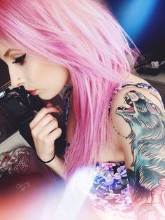 pink hair girl shoulder tattoo