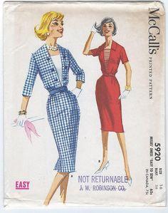 McCalls 5920 1950's Vintage Dress Pattern Bust by GothamPatterns, $12.95