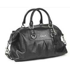 Coach 15447BLK Leather Large Ashley Sabrina Duffle Satchel Bag Purse Tote Black