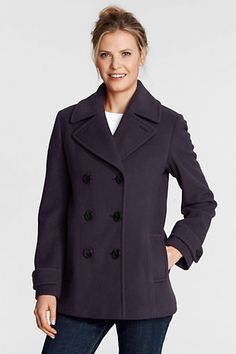 Women's Luxe Wool Pea Coat from Lands' End