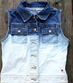 Last Chance Fall Sale Dip Dyed Denim Vest Size by LivinFreely, $14.00