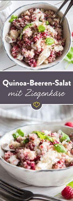 Dieser süße Quinoa-Salat mit Basilikum, Zitronendressing, Himbeeren und Ziegenkäse ist ganz schnell zubereitet, köstlich, frisch und gesund!