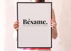 Besame+spanish+quote+love+print+wall+decor+spanish+por+ColourMoon