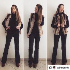 Amamos o post da linda cliente e atriz @alinebertu com nosso colete de pelo #Samantha  #Repost @alinebertu with @repostapp ・・・ Já que não posso levar o @purufofo pra me esquentar... #ootd #lookdodia #pelucia #flare #denim #coletedepelo #winter #sp #alinebertu #lookdabertu