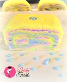 NEW Candy Burst Bubble Bath Slice!  A solid bubble bath bar scented with a mixture of fruity, citrus, and floral fragrance and essential oils.  Available online now! http://www.body-treats.com/#!product/prd1/2212031991/candy-burst-bubble-bath-slice
