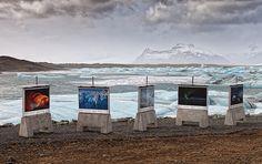 Vatnajökull- Outdoor Exhibition at The Jokulsárlon, Iceland Exhibition Display, Exhibition Space, Museum Exhibition, Outdoor Photos, Outdoor Art, Outdoor Ideas, Photo Exhibit, Museum Displays, Photography Exhibition
