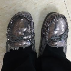Silver sequin moccasins Worn in, fur lined, flat moccasins. These shoes are so comfy and have so much life left in them!!! Kohls Shoes Moccasins