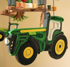 John Deere Mobile - Jersey Cow Nursery Mobile - Farm Mobile - Quilled Apple Tree - Tractor Boy Mobile Handmade 18A