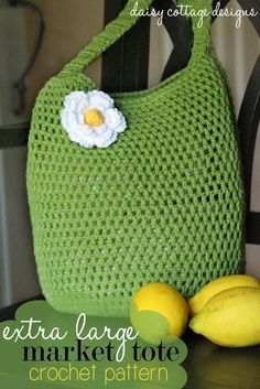 If you have just a few hours, you can complete this simple tote bag crochet pattern from Daisy Cottage Designs. This free crochet design is just the perfect size for toting to the farmer's market or the beach this summer. Add a cute flower to embellish this homemade tote bag. It's also perfect for your project bag.