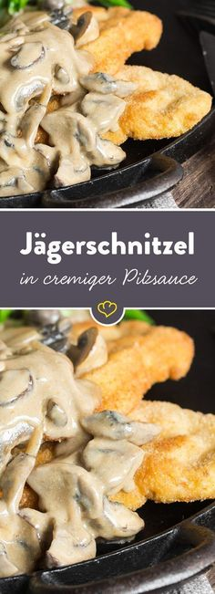 Classic hunter& schnitzel with chanterelle mushroom sauce-Klassisches Jägerschnitzel mit Pfifferling-Champignon-Sauce Chanterelles, mushrooms and onions combine to form a creamy sauce that you can not get enough of for your tender schnitzel. Soup Recipes, Vegetarian Recipes, Chicken Recipes, Cooking Recipes, Healthy Recipes, Pasta Recipes, Mushroom And Onions, Mushroom Sauce, Creamy Mushrooms