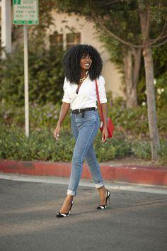 Classic Button-Up Shirt + High Waist Jeans (Style Pantry) Pretty Girl Rock, Black Girls Rock, Jean Shirt Outfits, Jean Shirts, Denim Fashion, Fashion Outfits, Style Pantry, City Style, Fashion Books