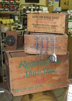 old wooden ammo boxes | Description: Antique Remington and Winchester Wood Ammo Boxes in Barn ...