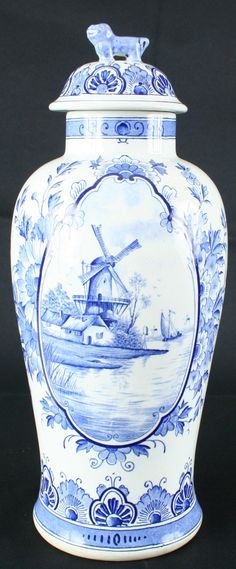 ntique 1900 Blue Delft Ginger Jar from Holland, Transferware Windmills, Cottage