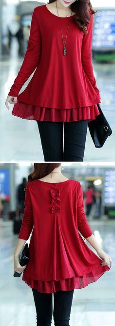 Bowknot Decorated Long Sleeve Chiffon Panel Sweater