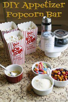DIY Popcorn Bar Makes a Fun Pre-Dinner Party Snack by scaron Potluck Desserts, Party Desserts, Party Snacks, Sleepover Snacks, Potluck Ideas, Sleepover Party, Pajama Party, Diy Snacks, Night Snacks