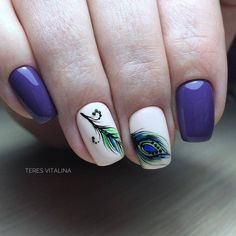 Дизайн ногтей тут! ♥Фото ♥Видео ♥Уроки маникюра The Art Of Nails, Short Nails Art, Round Nails, Oval Nails, Leopard Nails, Blue Nails, Diy Nails Manicure, Peacock Nails, Best Acrylic Nails