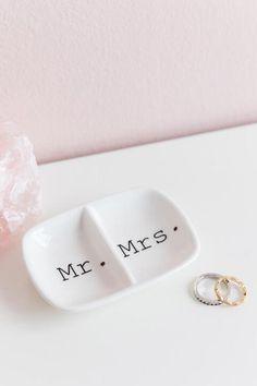 Mr. & Mrs. 2 Section Trinket Dish