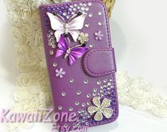 bling iphone 4s case wallet cover purple butterfly, iphone 4 wallet case, bling iphone 5c case leather wallet, iphone 5 case flip cover