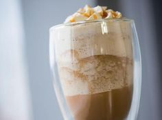 Glass of Frozen Caramel Latte using NESCAFÉ Milano products.