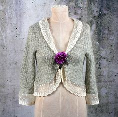 Shabby Chic Upcycled Embellished Lace Knit Sweater by LaineeLee on Etsy