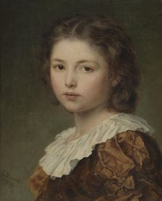 "https://flic.kr/p/JDNfzM | Ludwig Knaus - Portrait of a Young Girl [1884] | Knaus (German, 1829 - 1910) referred to such small portraits of anonymous children as ""little heads"" (Köpfchen). From the late 1860s, the artist produced many such charming works in high demand by his art dealer Ravené in Berlin and Samuel P. Avery in New York. In such compositions Knaus employed the clair-obscure technique of Dutch masters, completing the faces and hair in a series of thin colour layers…"