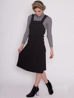 Dahlia Hampstead Black Pinafore Dress with Pom Pom Trim