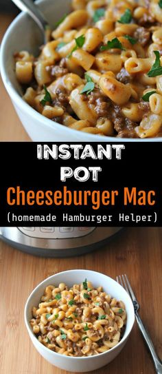 Instant Pot Cheeseburger Mac / Copy Cat Hamburger Helper This homemade version of a hamburger helper type meal is loaded with ground beef and cheese. A true family friendly meal, ready in under 20 minutes with a pressure cooker (Instant Pot). Beef Recipes, Cooking Recipes, Healthy Recipes, Healthy Snacks, Cooking Tips, Fast Recipes, Family Recipes, Kitchen Recipes, Food Dinners