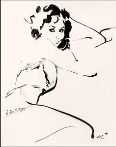 Marie Helvin portrait by David Downton