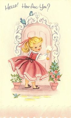 this reminds me of my birth announcement card I still have.  I guess that makes me vintage !!!hello ...adorable! #vintage #ephemera
