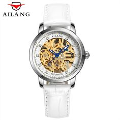 59.99$  Buy now - http://ali779.shopchina.info/1/go.php?t=32815588590 - AILANG 2017 Ladies Diamond Display Women Top Brand Luxury White Simple Skeleton Transparent Case Automatic Mechanical Watches  #shopstyle