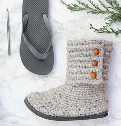 "These cozy crochet boots with flip flops for soles might just convince you that flip flops are not just for summer anymore! The pattern and photo tutorial will teach you how to transform a cheap pair of flip flops into sweater boots that look just like the expensive store-bought shoes. Whether you wear them outside as boots or inside as slippers, you're going to have some incredibly warm, stylish and happy toes.The pattern includes a printable ""ruler"" to guide the placement of ..."