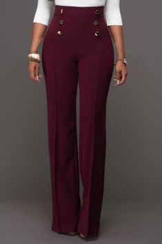 Looking for Plain High-Waist Button Loose Full Length Patchwork Women's Pants? Fancywe offers lots of Pants & Leggings in different styles, colors and materials. Dress your own style with Plain High-Waist Button Loose Full Length Patchwork Women's Pants Business Casual Outfits, Professional Outfits, Classy Outfits, Cute Outfits, Work Fashion, Fashion Pants, Fashion Outfits, Women's Fashion, Fasion