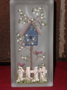 Design by Cheryl Skalski; Pattern includes: color photo, supply list, tracing pattern, and painting instructions. All parts sold separately. Painted Glass Blocks, Decorative Glass Blocks, Lighted Glass Blocks, Painted Window Screens, Tole Decorative Paintings, Glass Block Crafts, Glass Painting Designs, Glass Cube, Spring Painting