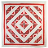 Wild Goose Chase Barnraising quilt, circa 1880: This bold pattern is an original takeoff of a classic Barnraising. The concentric bands are filled with Wild Goose Chase and Delectable Mountains rather than the traditional logs making a stunning, complex pattern.  Stella Rubin Antiques.