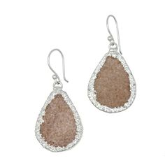 A boho look is not complete without raw #stones. #Teardrop #earrings feature light #purple #druzy stones surrounded by sterling #silver. French wire earring.* Marlee's Designs * #Boheme Collection Light Purple Druzy Teardrop Earrings | Marlee's by Tappers | www.marleesstyle.com