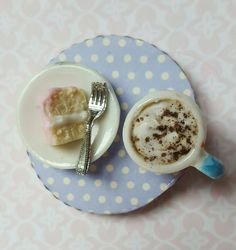 Food fridge magnet, miniature coffee and cake, food refrigerator magnets, kitchen decor, stocking filler by MagentaMinis on Etsy