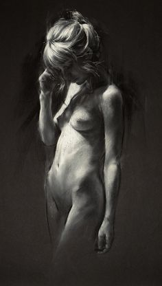 """Nocturnes XXIV"" by Trudy Good, female frontal nude dark shadow figure drawing #NSFW trudygood.co.uk <3"